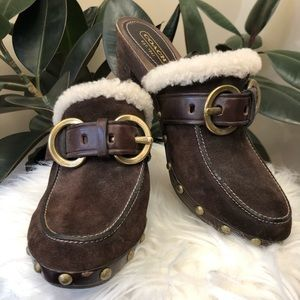 Coach Fur Trim Clogs